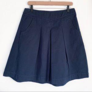 J. Crew | Navy Blue Chino Pleated Skirt 6